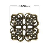 10 Antique Bronze Flat Vintage Filigree Square Metal Embellishment Findings  fil0040