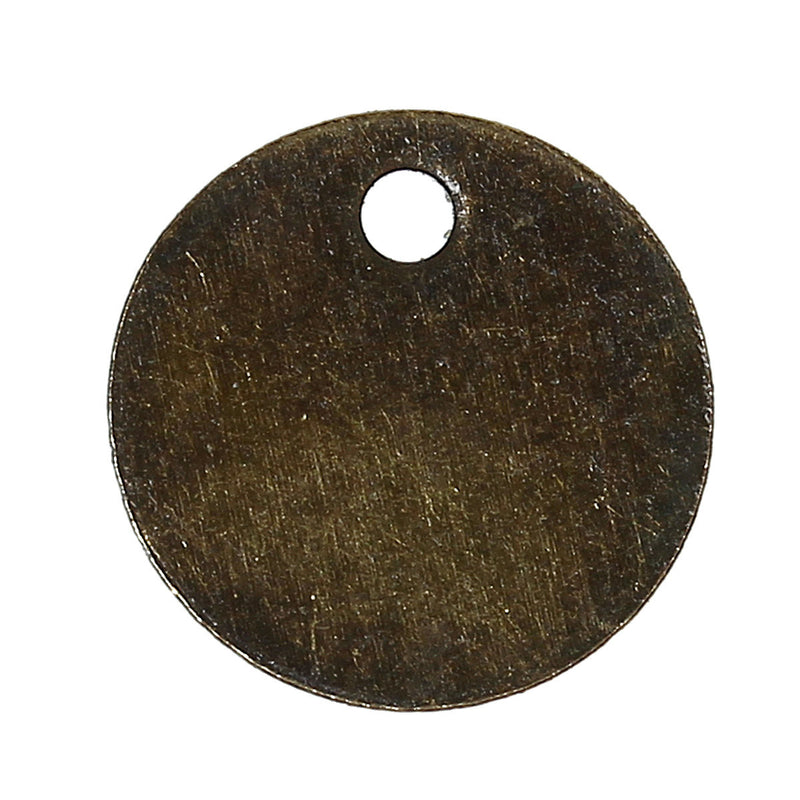 50 Thin Antique Bronze Metal CIRCLE DISC Charm Pendants, 8mm chb0279