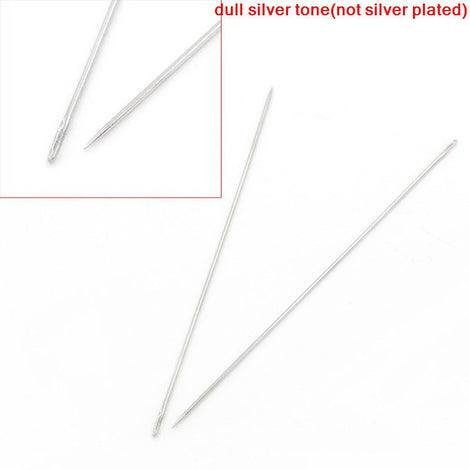 "5 Silver Tone Bead Threading Needles, 75mm (3"") long  tol0178"