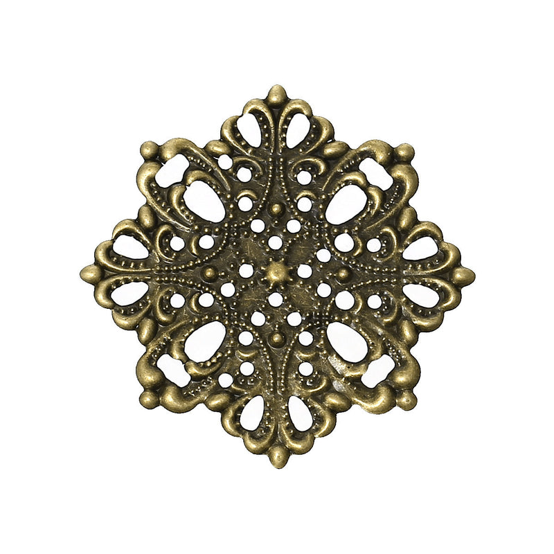 20 Antique Bronze Flat Filigree Flower Metal Embellishment Findings, 4.4cm  fil0045