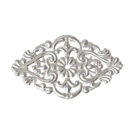 10 Silver Tone Metal Filigree Rhombus Embellishment Findings  fil0048a