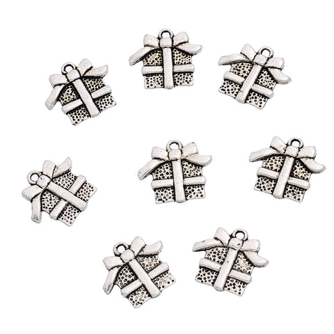 10 Antique Silver Wrapped CHRISTMAS PRESENT Charm Pendants  chs1438