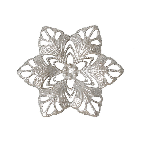 20 Silver Tone Filigree FLOWER Metal Embellishment Findings  fil0051a
