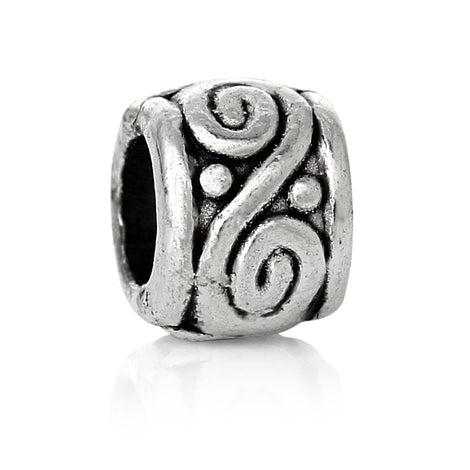 50 Antique Silver Carved SWIRL Metal Spacer Beads, 4x3mm  bme0291a