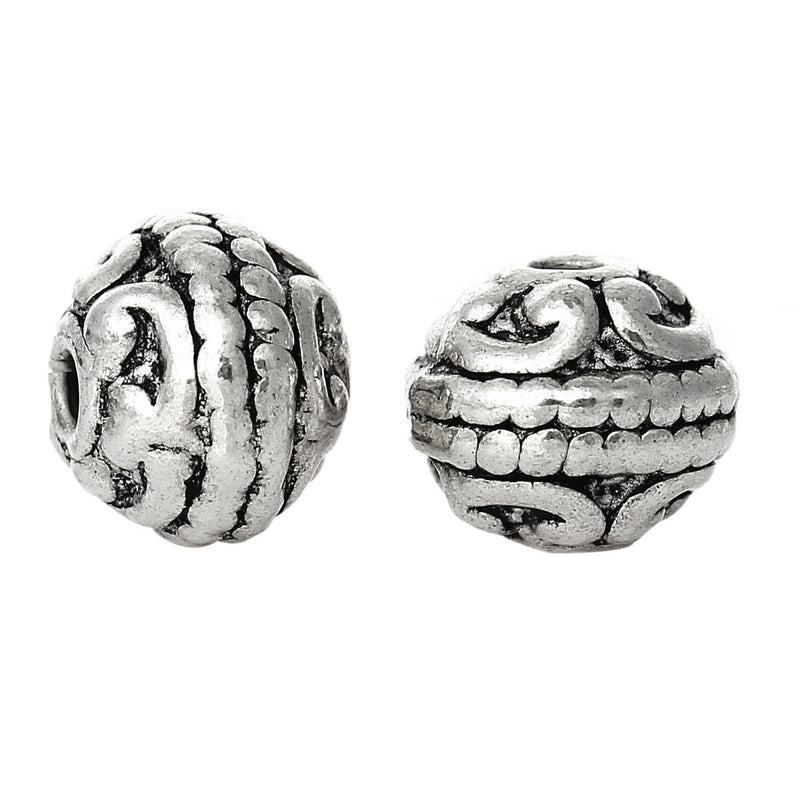 20 Antique Silver Round Carved Bali Style Metal Spacer Beads, 8mm  bme0292