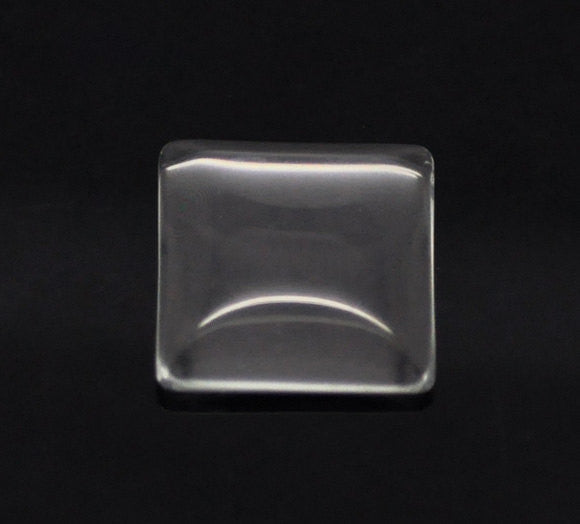 "10 Clear SQUARE Glass Dome Seals 25x25mm, 1"" for Cabochons, Pendants, Charms,  Scrapbooking cab0300"