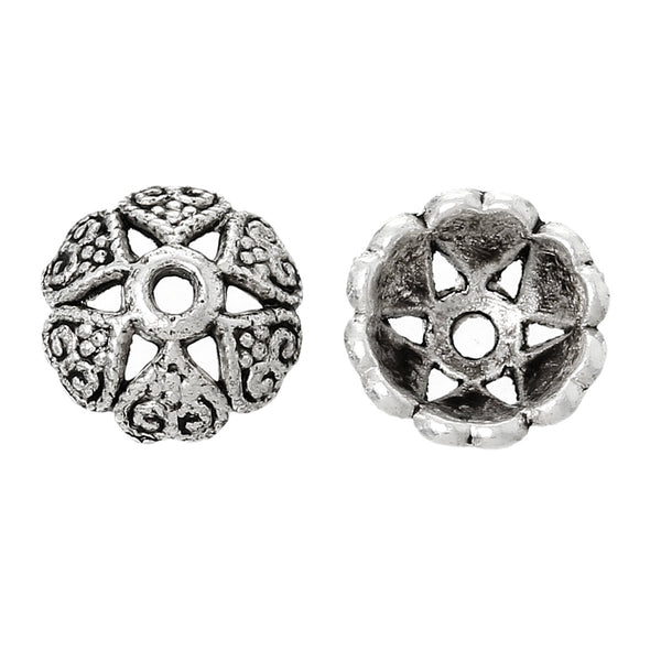 HA12920 Charming Beads Packet of 30 x Silver Brass 8mm Flower Bead Caps