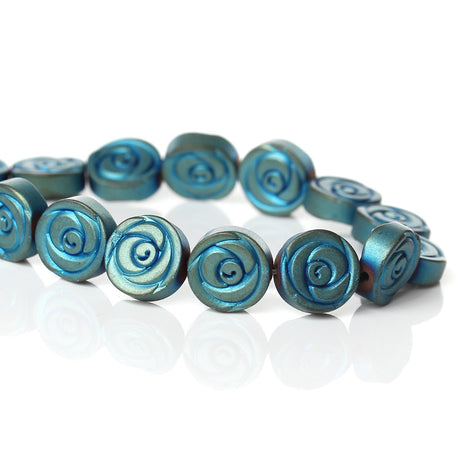 10 pcs Titanium Coated Blue Green Carved ROSE Hematite Gemstone Beads, 10mm  ghe0045