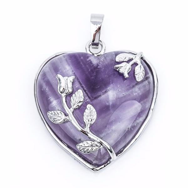1 Amethyst Gemstone Heart Pendant with Silver Flower Accents and Bezel cgm0034