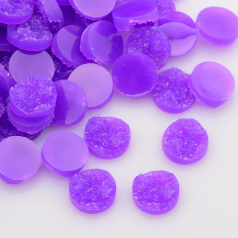 10 Round Resin GRAPE PURPLE DRUZY Cabochons, 12mm  cab0224