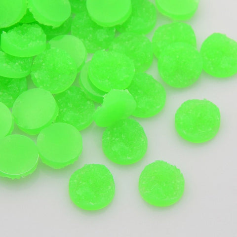 10 Round Resin LIME GREEN DRUZY Cabochons, 12mm  cab0225