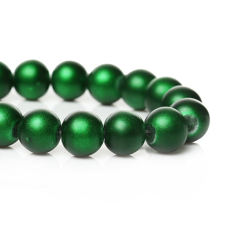 40 Round Glass Beads, Matte Metallic EMERALD GREEN  10mm  bgl0806