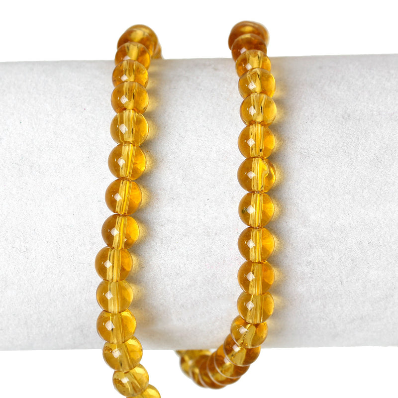 1 Strand Round Glass Beads, GOLDEN YELLOW  6mm  bgl0873