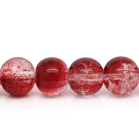 40 Crackle Glass RED and CLEAR Round Glass Beads . 10mm bgl0881