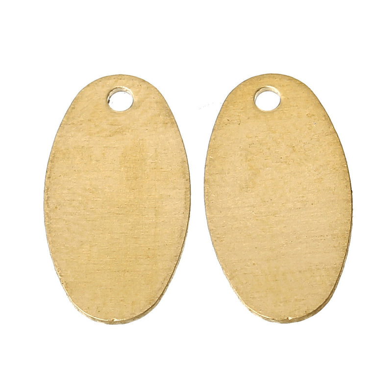25 Gold Brass Metal Stamping Blanks, Small OVAL TAG, 1 hole, 13x7mm,  26 gauge msb0187