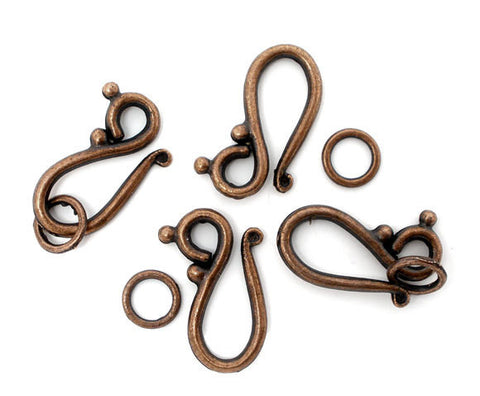 8 Sets Toggle Clasps Antique Copper 21x12mm, hook and eye design fcl0119