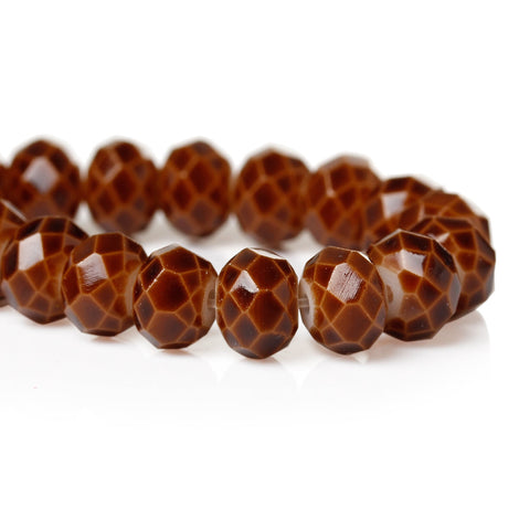 1 Strand 8x6mm Crystal Beads, Rondelle CHOCOLATE BROWN bgl0905