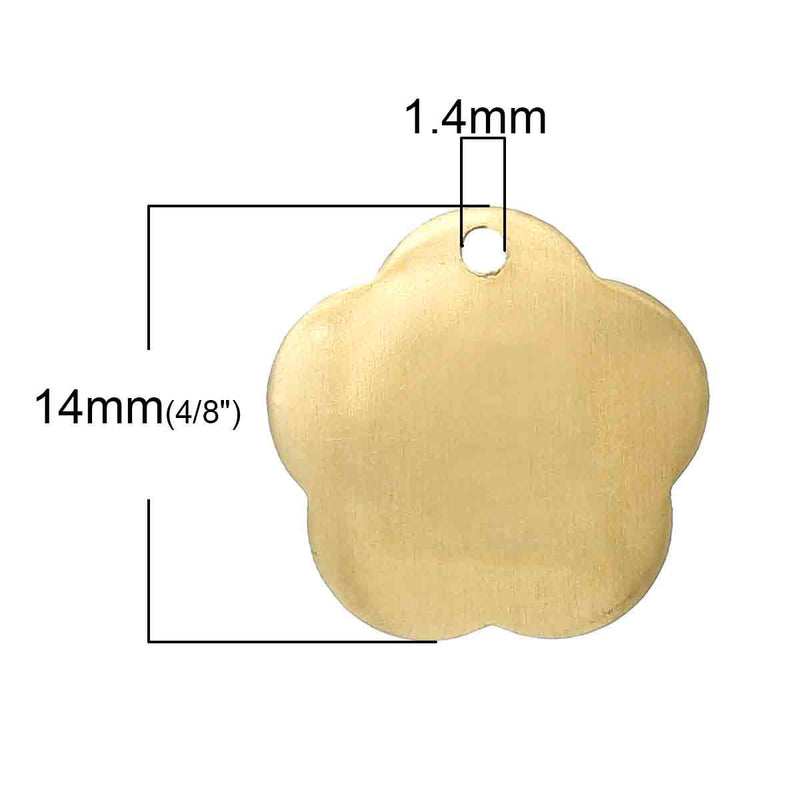 15 Gold Brass Sheet Metal Stamping Blanks, Domed FLOWER TAG, 1 hole, 15x14mm   20 gauge msb0189