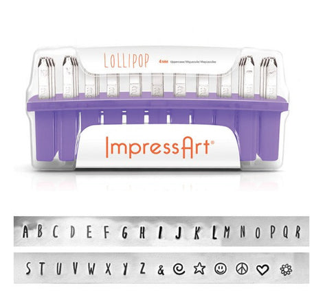 ImpressArt Metal Alphabet Letter Stamping Set,  4mm UPPERCASE LOLLIPOP Font  tol0202