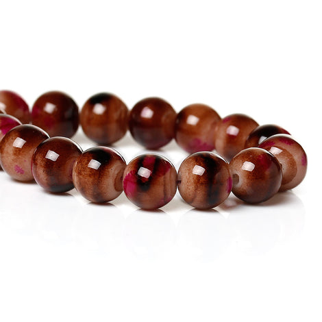 100 Round Glass Beads, brown with white and hot pink, marble pattern, 8mm bgl0925