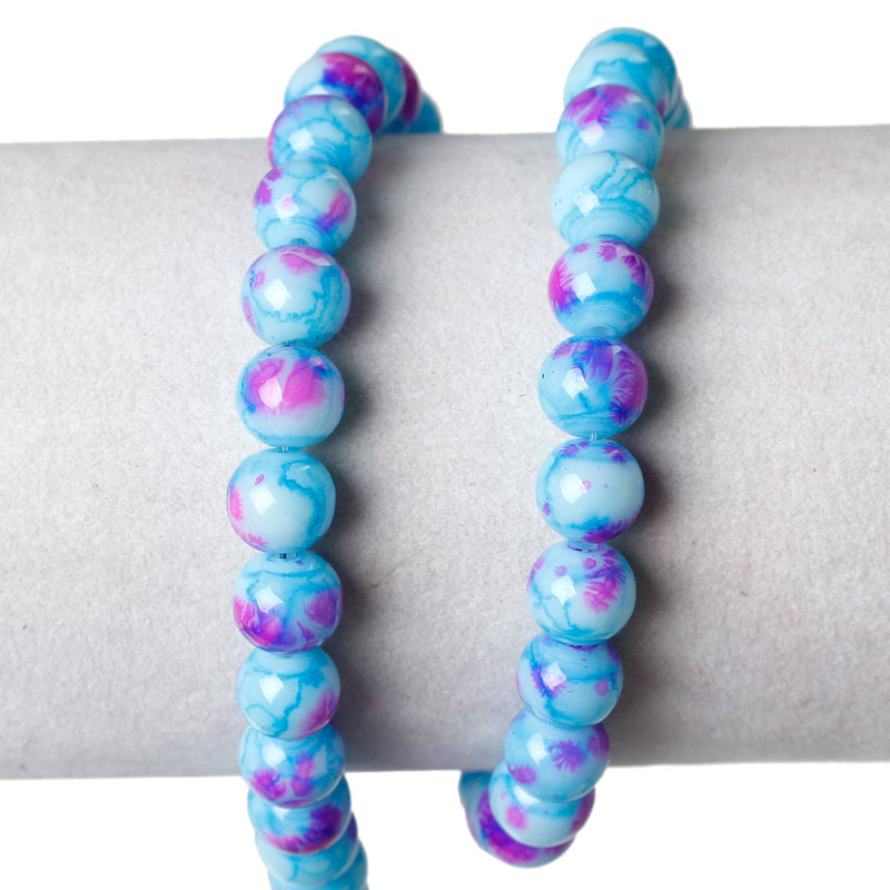 100 Round Glass Beads, turquoise blue with purple and pink, marble pattern, 8mm bgl0924