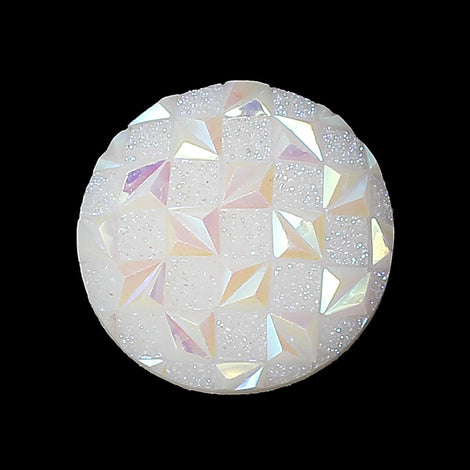 10 Faux Druzy Cabochons, 18mm Round Resin Metallic Frosted WHITE AB Druzy Cabochons, criss-cross pattern, 18mm  cab0235