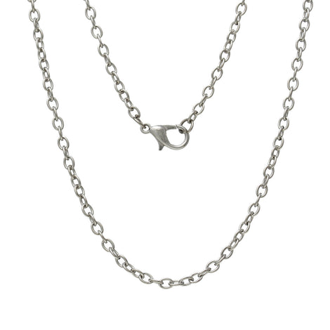 "One Dozen (12) Silver Tone CABLE LINK CHAIN Necklaces, lobster clasp, 30"" long   fch0152"