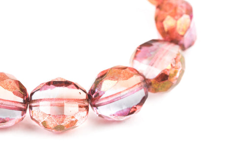 15 ROSE PINK and GOLD Faceted Round Table Cut Czech Glass Beads  12mm x 11mm bgl0944