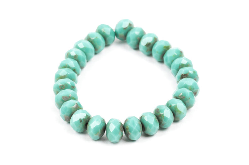 25 Rondelle Czech Pressed Glass Beads, 8mm faceted, turquoise blue green Picasso bgl0931