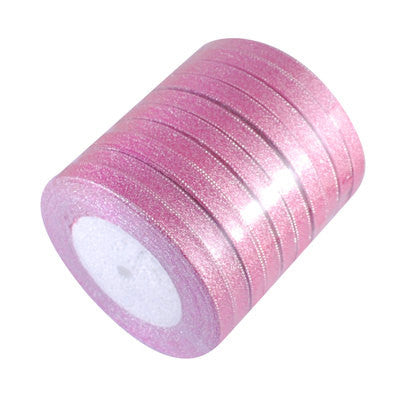 "25 yards (75 feet)   Candy Pink and Silver METALLIC Color Ribbon Trim 6mm 1/4"" wide  rib0050"