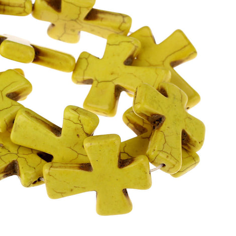 1 Strand (11 beads) Large Howlite Stone Beads YELLOW Maltese CROSS  36x30mm  how0315b