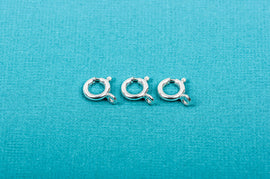 10 Sterling Silver spring ring clasps, 8mm diameter, pms0251
