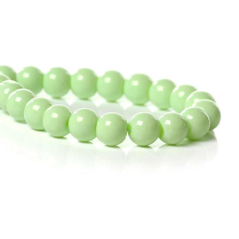 "6mm LIME GREEN Glass Beads, Round Pastel Light Green, Spring Green, 32"" strand bgl0990"