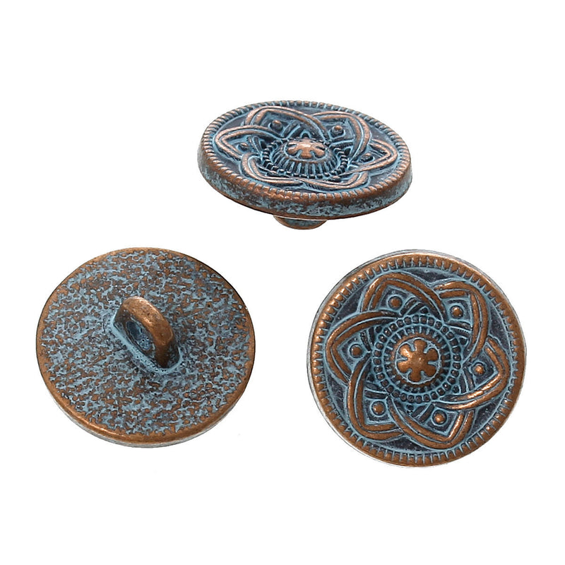 "10 Copper Shank Buttons, flower pattern, 15mm (5/8"") diameter antiqued with a BLUE paint wash, shabby chic but0195"