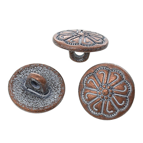 "10 Copper Shank Buttons, 12mm (1/2"") diameter antiqued with a WHITE paint wash, shabby chic but0192"
