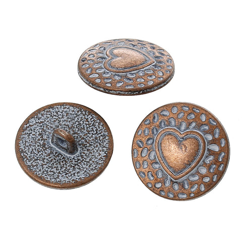 "10 Copper Shank Buttons, HEART 18mm (3/4"") diameter antiqued with a white paint wash, shabby chic but0196"
