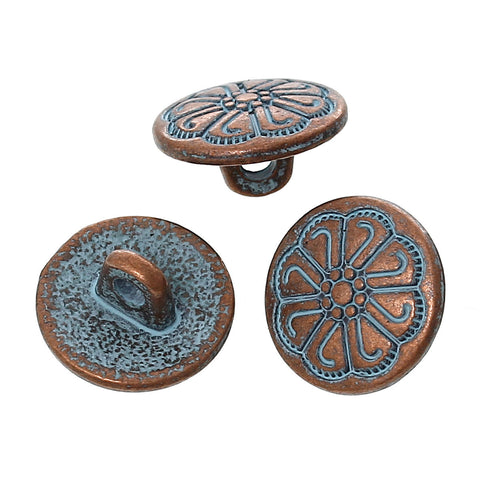 "10 Copper Shank Buttons, 12mm (1/2"") diameter antiqued with a blue paint wash, shabby chic but0197"