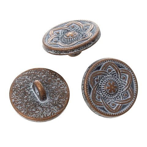 "10 Copper Shank Buttons, flower pattern, 15mm (5/8"") diameter antiqued with a WHITE paint wash, shabby chic but0199"