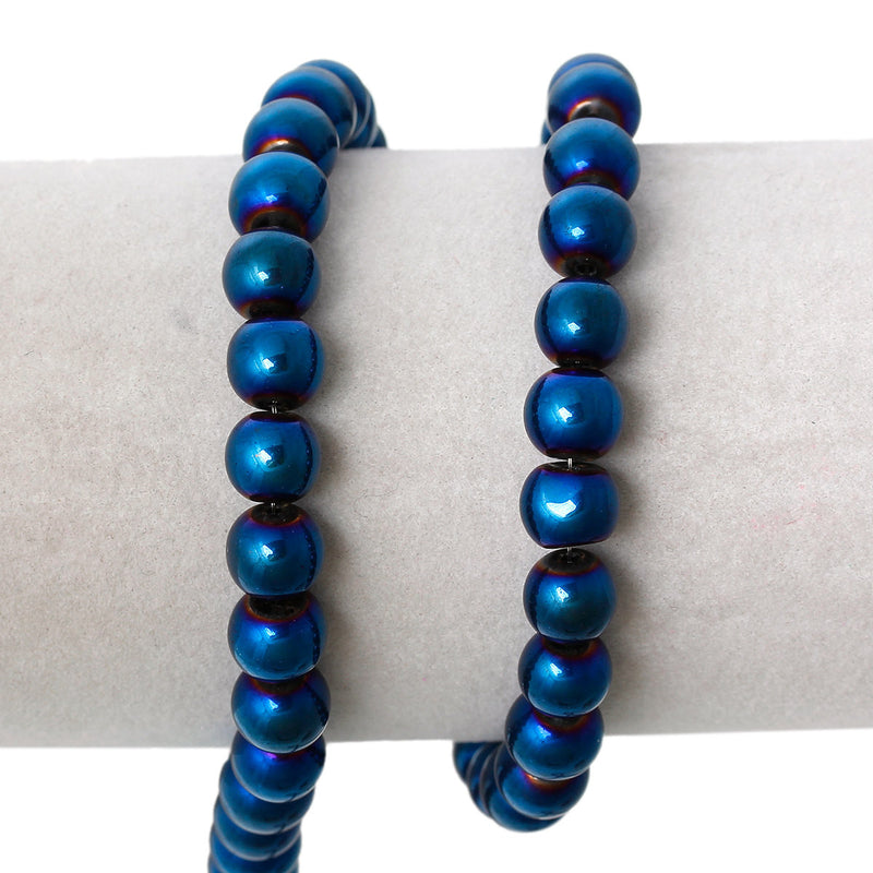 "8mm Round Glass Beads with Blue Electroplate, 30"" strand 100 beads, bgl0912b"