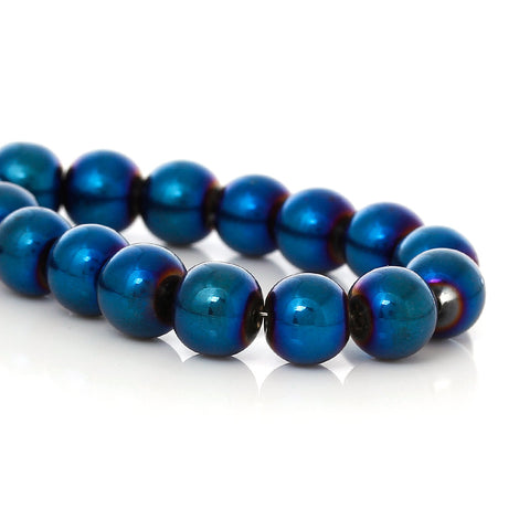 "14"" strand 8mm Round Glass Beads with Blue Electroplate Rare, Hard to Find bgl0912a"