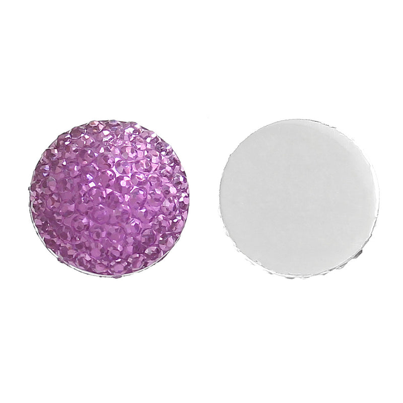 20 RESIN DRUZY Style Pavé CABOCHONS, fuschia purple, 12mm diameter  cab0257