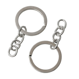 "30 bulk Key Rings with Chain, for adding your own charms, beads, 1"" diameter  fin0355"