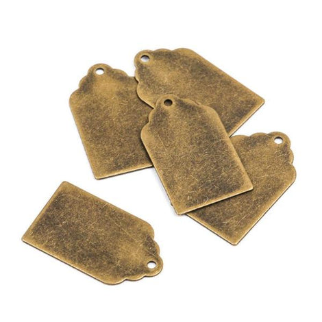 "10 Distressed Brass Stamping Blanks, Charms, TAG shape 7/8"" x 1/2"" 24 gauge msb0198"