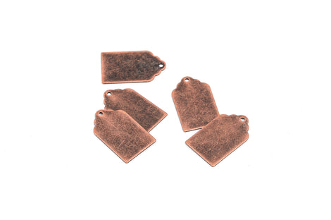 "10 Distressed Copper Stamping Blanks, Charms, TAG shape 7/8"" x 1/2"" 24 gauge msb0197"