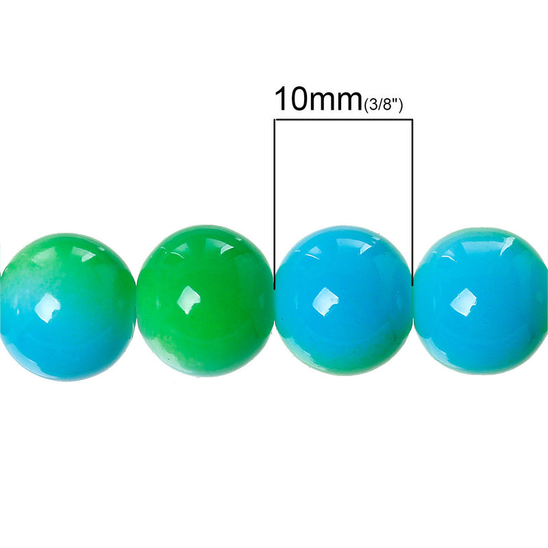 "10mm Bright GREEN and TURQUOISE BLUE Glass Beads, Round, two-tone, 32"" strand (about 84 beads)  bgl1007"