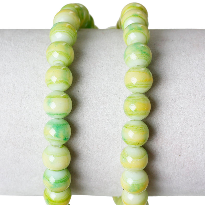 "8mm APPLE GREEN, Yellow, White Marble Glass Beads, Round, 32"" strand (about 106 beads)  bgl1009"