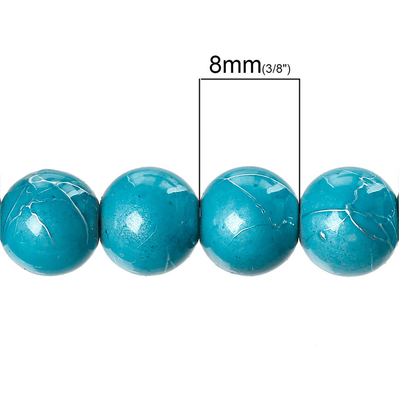 50 Medium TURQUOISE BLUE Metallic Drizzle Glass Beads, Round, 8mm bgl0999