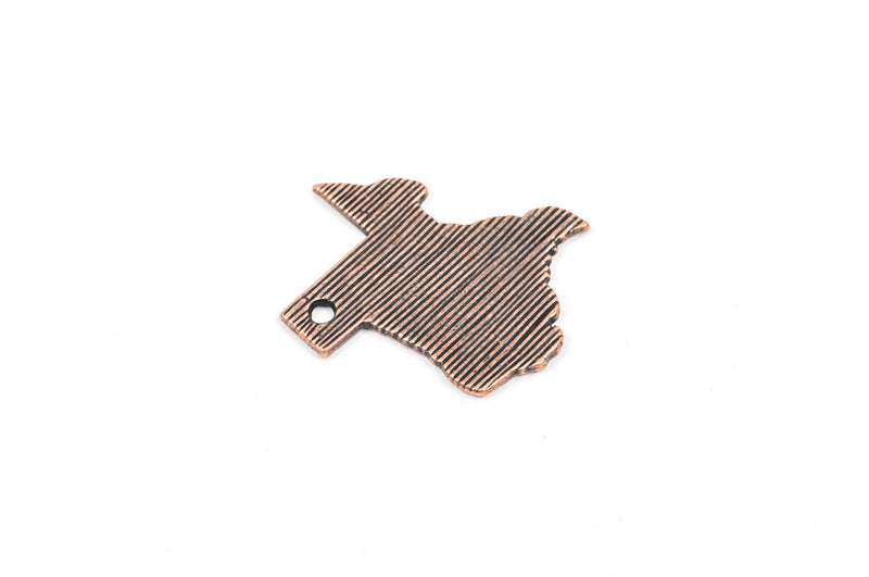 4 TEXAS STATE Cutout Charm Pendants, textured copper tone metal, chc0031