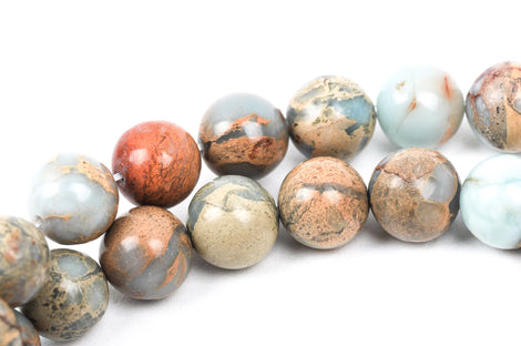 12mm AQUA TERRA JASPER Round Gemstone Beads, natural, blue green, tan, full strand, about 34 beads, gja0143