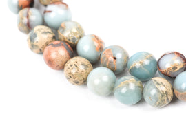 4mm AQUA TERRA JASPER Round Gemstone Beads, natural, blue green, tan, full strand gja0083